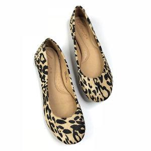 Born Stowaway Leopard Cow Skin Ballet Flats 6.5